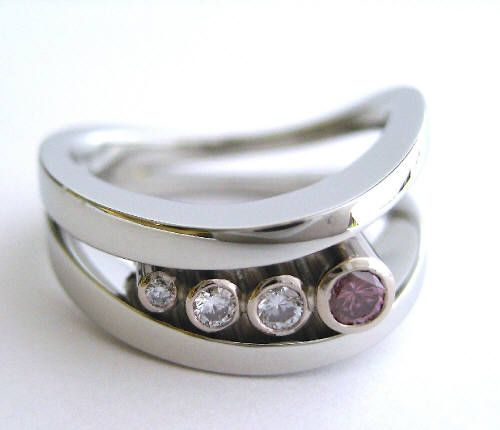 Susan Kun PINK & WHITE DIAMOND RING / Canada House Gallery