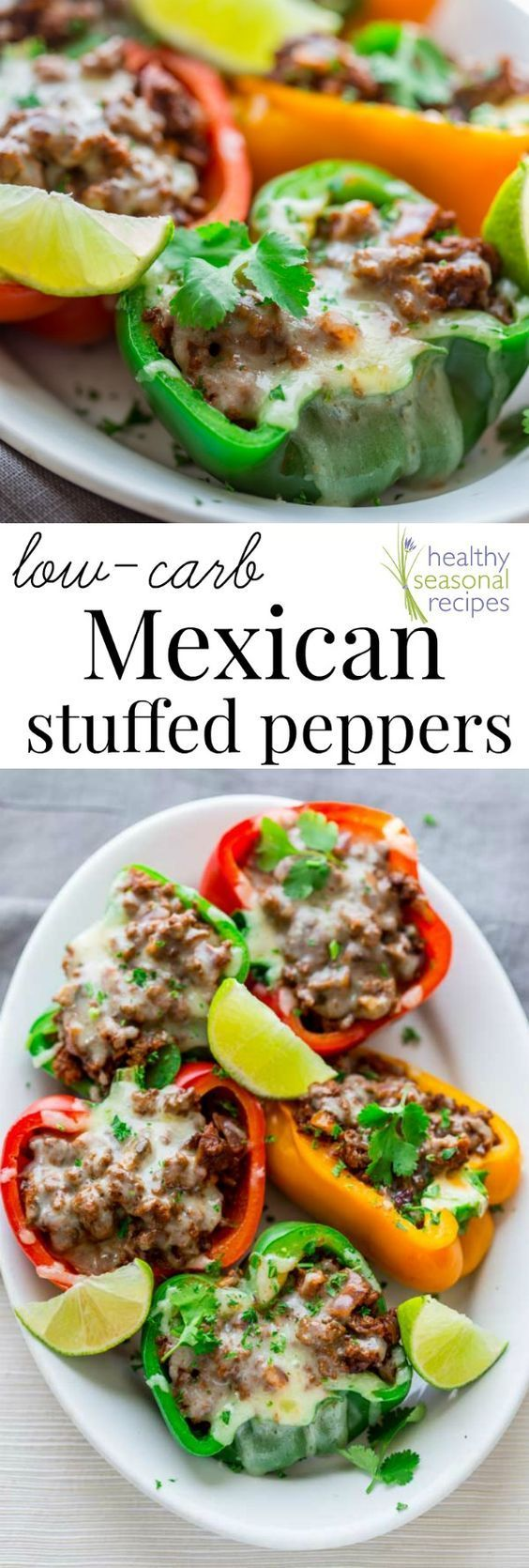Blog post at Healthy Seasonal Recipes : These cheesy spicy Mexican stuffed bell peppers come together in only 20 minutes for a low-carb, gluten-free and totally delicious weeknight[..] // Food recipe ideas