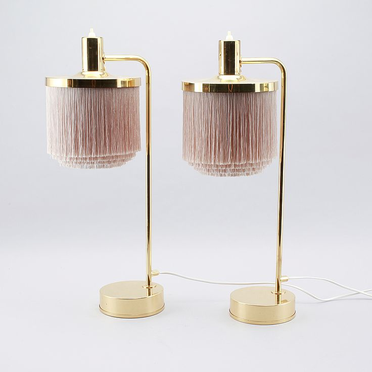 Nice Lovely Pale Pink Fringed Lamps By Hans Agne Jakobsson From The