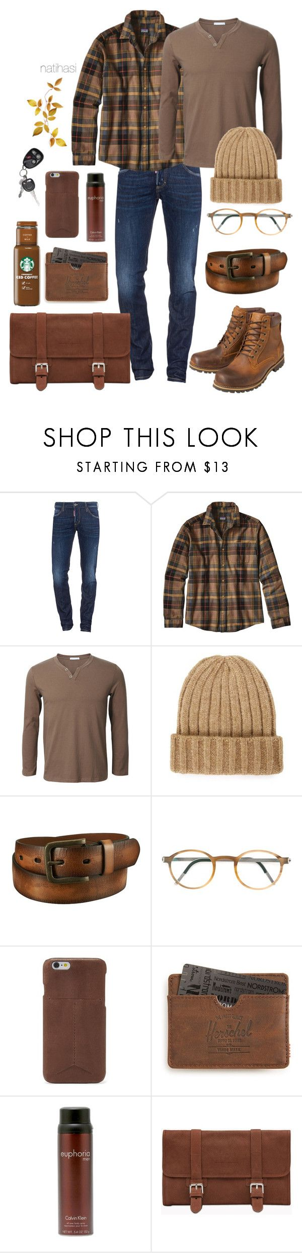 """Men Plaid Fall Outfit"" by natihasi ❤ liked on Polyvore featuring Dsquared2, Patagonia, Earthkeepers By Timberland, Topman, Uniqlo, Lindberg, FOSSIL, Herschel Supply Co., Calvin Klein and Brunello Cucinelli"