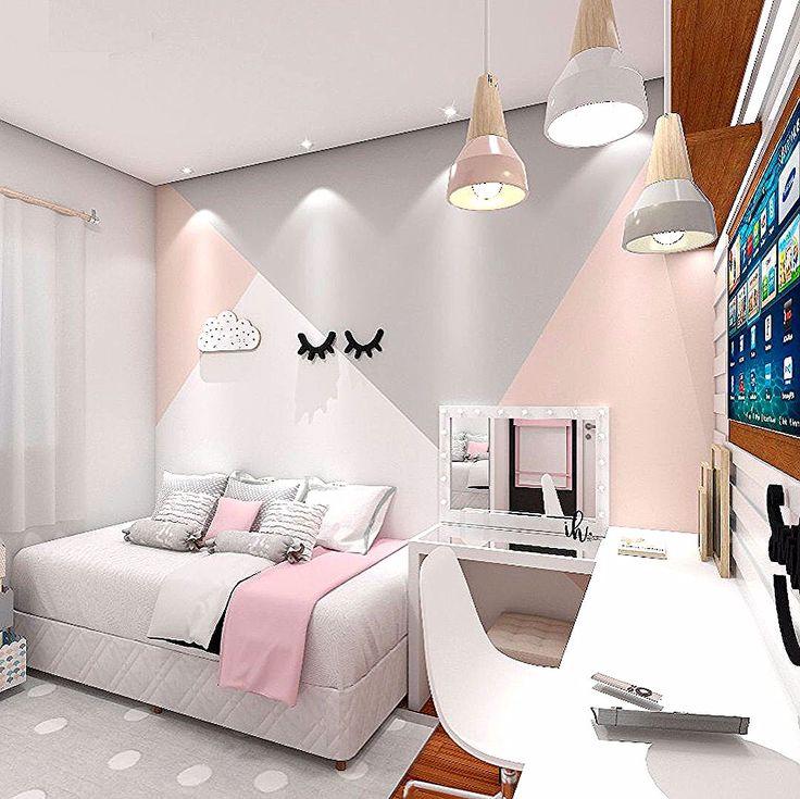 Quarto mais liiindo de menina, criado com muito amor 💕 projeto moderno com detalhes em cinza e rosa ✨ apostamos sobre o processo criativo…