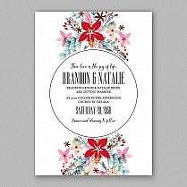 Приглашение на свадебное торжество с красными и розовыми цветками пуансетии, еловыми и сосновыми ветками, акварельным букетом для девичника.