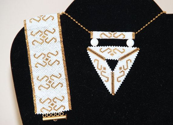 delica triangle necklace  wristband by ANASIS on Etsy