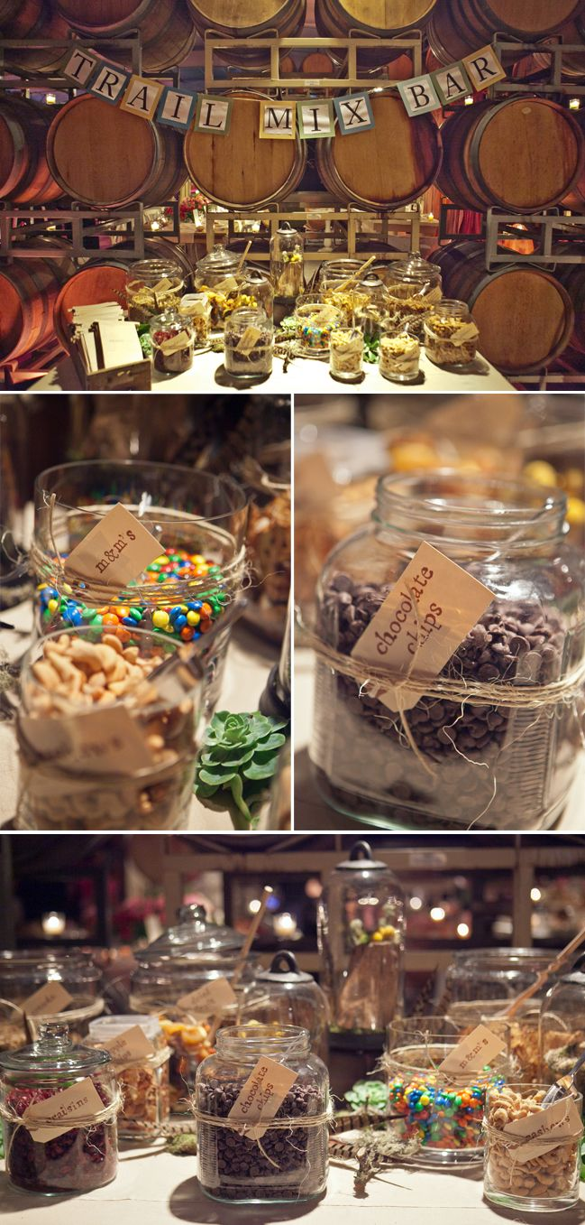 country wedding trail mix bar... Happy trails to you... until we meet again!Candy Bars, Wedding Favors, S'Mores Bar, Wedding Ideas, White Chocolate, Trail Mixed Bar, Parties Ideas, Candies Bar, Food Bar