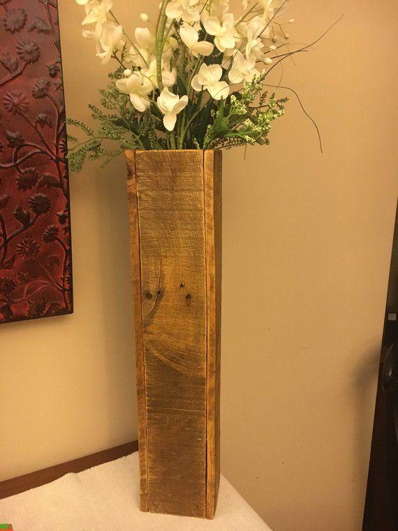 Wooden Vase Flower Vase Tall Wooden Vase Rustic Home Decor