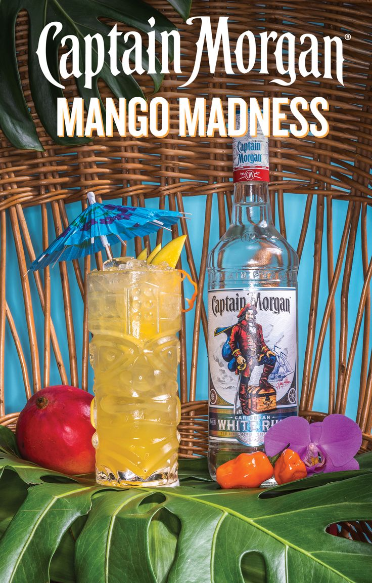 Pour an island getaway in a glass. No need for a flight to get to this delicious destination. All you need to do is: 1. Muddle some lime juice and a habanero slice into a cocktail shaker. 2. Add 1.5oz. Of Captain Morgan White Rum, 1oz. Of Agave Nectar, and 1oz. Of Mango Juice. 3. Shake and strain into a tiki mug over crushed ice. 4. Add extra crushed ice on top. 5. Garnish with mango and habanero slices. And that, Captain, is how you make a Captain Morgan Mango Madness.