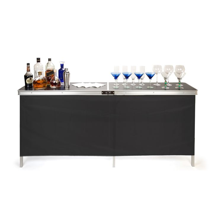 Trademark Innovations Portable Bar Table - Two Skirts and Carrying Case Included (Portable Double-Wide Bar Table), Black