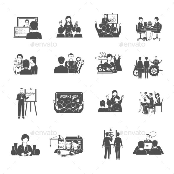 Workshop Icons Set by macrovector Workshop black icons set with interactive business meeting symbols isolated vector illustration. Editable EPS and Render in JPG fo
