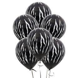 Zebra Stripes Black Latex Balloons