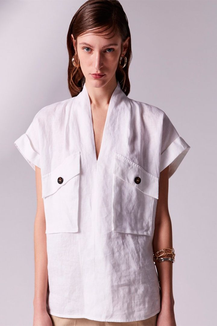 Camisa de lino blanca de Adolfo Domínguez | Galería de fotos 5 de 8 | StyleLovely Shirt Dress, Blouse, Clothing Patterns, Chef Jackets, Dressing, Today's Outfit, Coat, Womens Fashion, Shirts