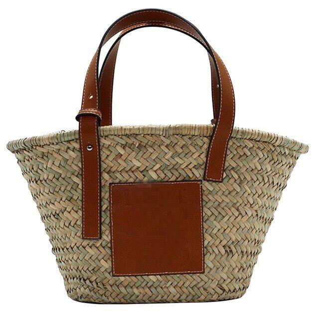 Auaustraw bag woven tote super large capacity basket bag beach bag khaki