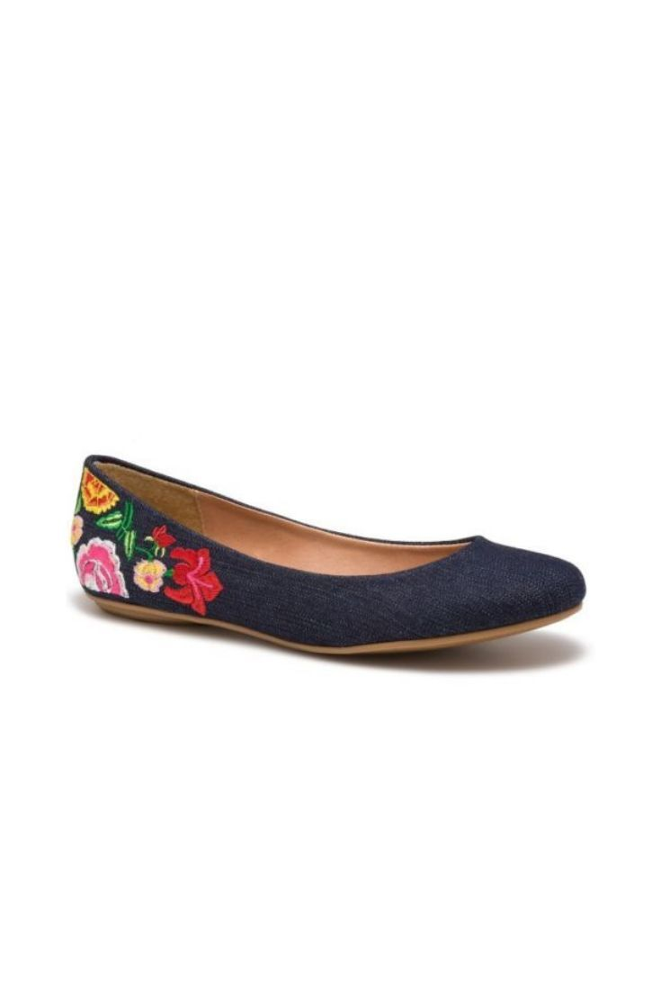 6c7b2bc480a3 These embroidered ballet flats are like not other flats. Enjoy the sleek  denim look and colored emobroidered flowers as a danty touch!