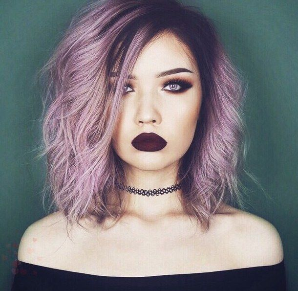 choker, dark makeup, grunge, hair, hairstyle, ombre, ombre hair, purple, purple hair, quality, short hair, tumblr, tumblr girl, tumblr hair, w