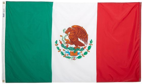 Mexico Flag 3x5 ft. Nylon SolarGuard Nyl-Glo 100% Made in USA to Official United Nations Design Specifications by Annin Flagmakers.  Model 195706 -- Click image for more details.
