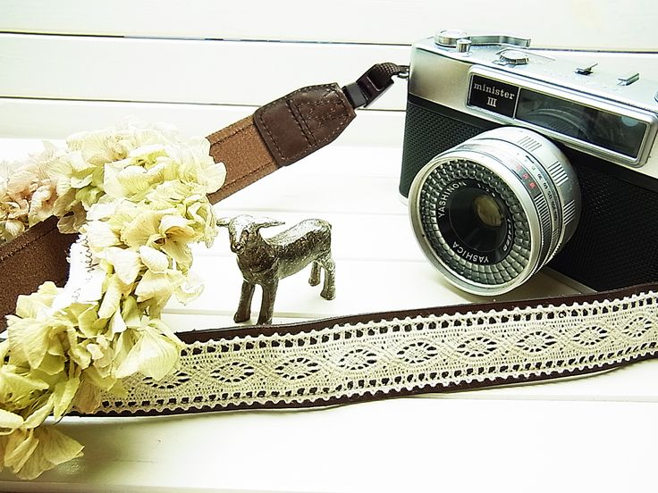 Lusikka natural leather and lace camera strap