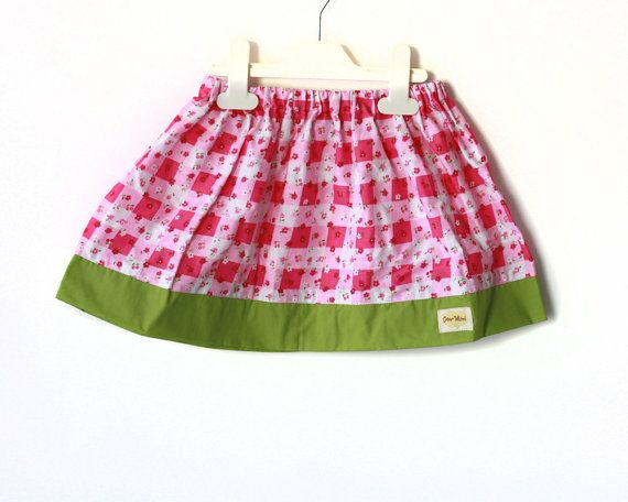 Toddler Skirt, Floral Pink and Lime Green, Play skirt, gathered skirt, baby skirt
