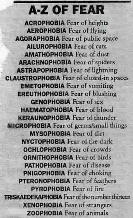 A to Z of fear