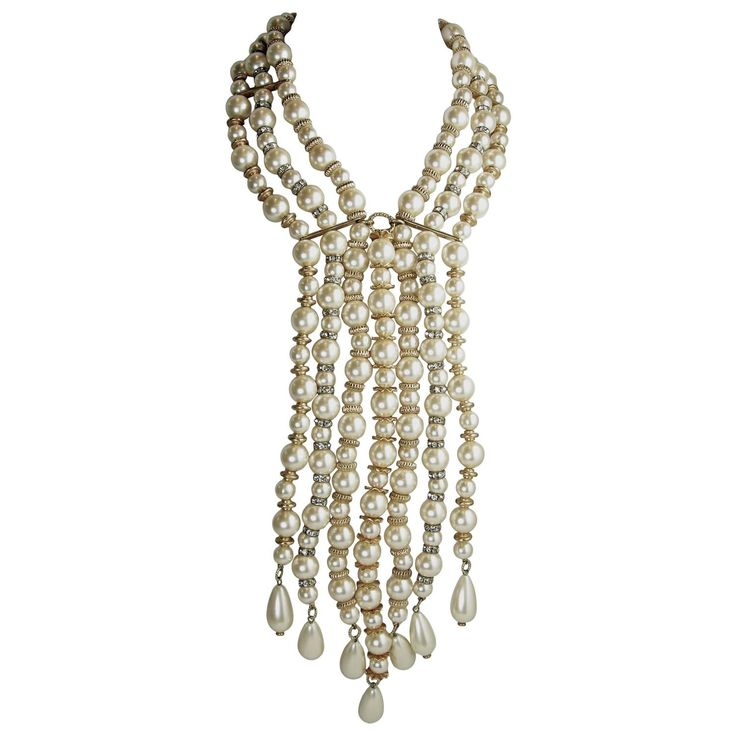 Vintage Cascading Waterfall Pearl Drop Necklace | From a unique collection of vintage drop necklaces at https://www.1stdibs.com/jewelry/necklaces/drop-necklaces/