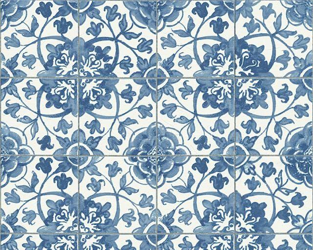 a mediterranean tiling on a roll style wallpaper with a blue design on an off white tile effect backing samples cost each mediterranean blue wallpaper - Landhauskchen Mediterran
