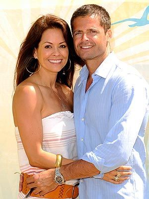 Brooke Burke and David Charvet. Engaged in 2006 and married 2011. They have a son and daughter together. She has 2 daughters from a prev. marriage. She had successful thyroid cancer surgery 12/5/12. He is an actor best known for Baywatch & Melrose Place.