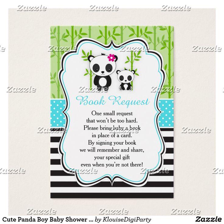 Cute Panda Boy Baby Shower Book Request Business Card