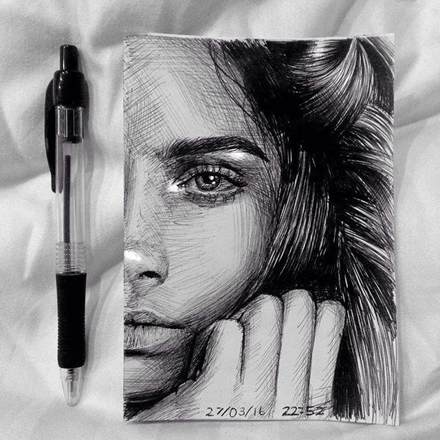 Portrait of @caradelevingne  Ballpoint pen and white pen #caradelevigne #art#pendrawing