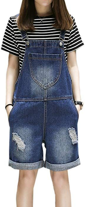 6e29e35db6af Flygo Women's Plus Size Loose Denim Distressed Bib Overalls Shorts Jean  Jumpsuits with Pockets (US 14W, Blue)