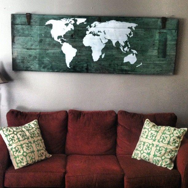Old Barn Door + World Map