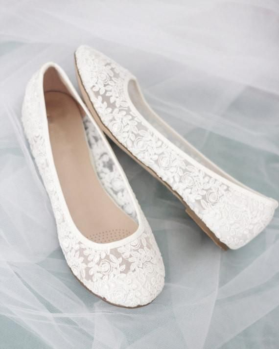 Women White Crochet Lace Flats In 2019 One Magic Day Bridesmaid