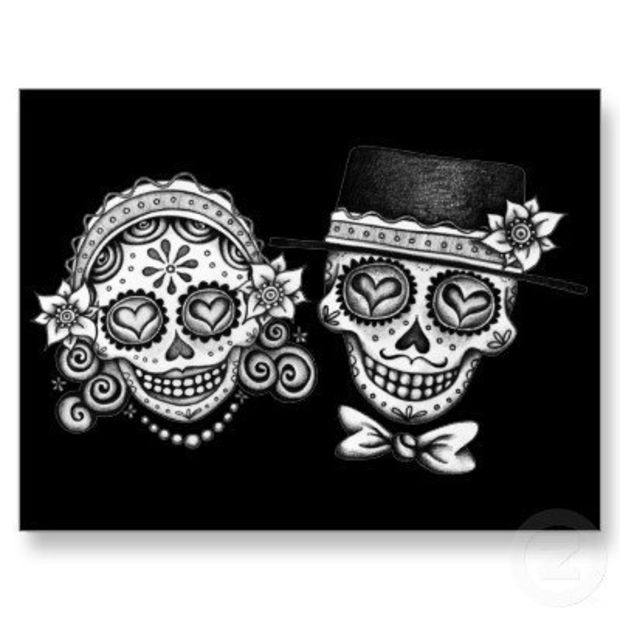 Sugar Skull Couple Postcard from Zazzle.com