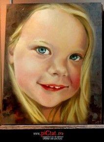 Tablouri pictate: Portret de fetita cu parul balai Portrete pictate in ulei pe panza