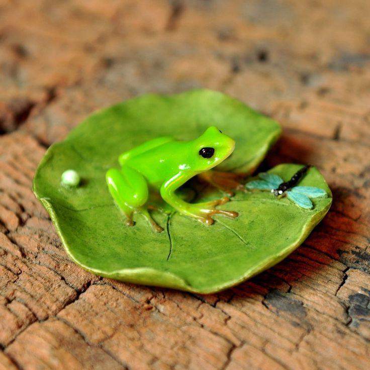 Miniature Fairy Garden Terrarium Frog and Dragonfly on Lotus Leaf