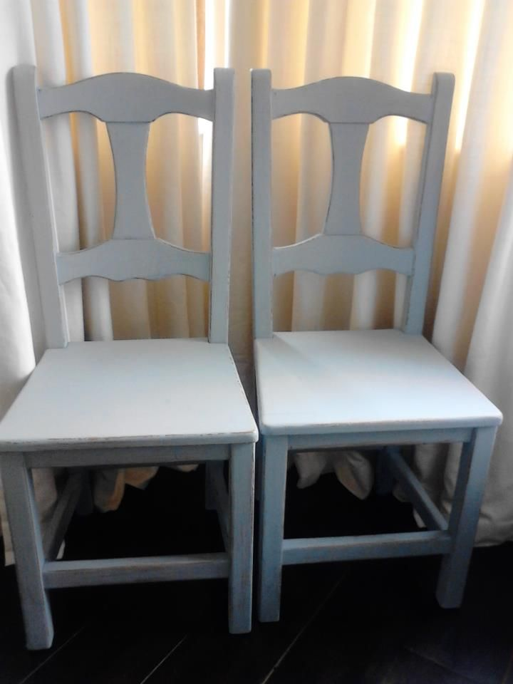 The Goldilocks Chairs. Vintage Pair of sturdy, solid wood Chairs. Handpainted in Duck egg blue. Distressed and sealed in wax.