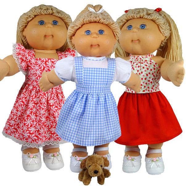 "This is such an easy and versatile pattern for your 18 1/2"" Cabbage Patch doll!  You can make a pinafore, a dress or a skirt OR why not make all three!   It's a super easy pattern to make and of course comes with LIFETIME access to my step-by-step video instructions which make it even more fun to sew."