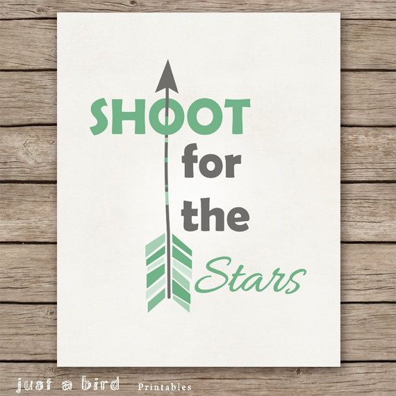 Arrow Art Print, Positive Quote print, Green Boys Room Decor, Green Nursery decor, Shoot for the stars, baby boy green INSTANT DOWNLOAD on Etsy, $5.00