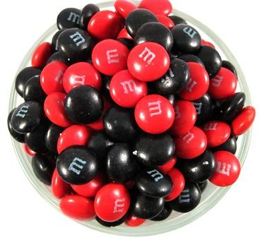 Red and Black M's in tins as Favors?