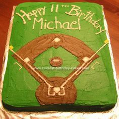 Homemade  Baseball Field Birthday Cake: Both of my boys are involved with baseball and have had baseball cakes before, but this year my eldest wanted a baseball field.  To make this Baseball