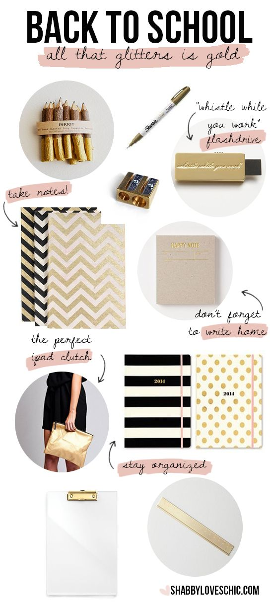 Gold and Chevron print are the go to colors this season. Wear them in your #ootd and even in your school supplies #BackToSchool