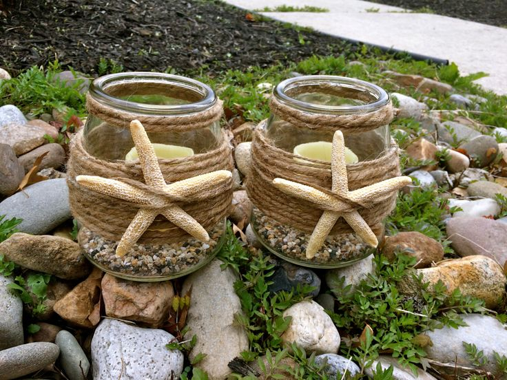 Beach candleholders - beachy starfish lanterns - set of two - beautiful rustic resort or beach house home decor - perfect housewarming gift by EleghantCreations on Etsy https://www.etsy.com/listing/231618255/beach-candleholders-beachy-starfish