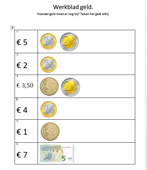 Werkblad rekenen met geld. Groep 3.