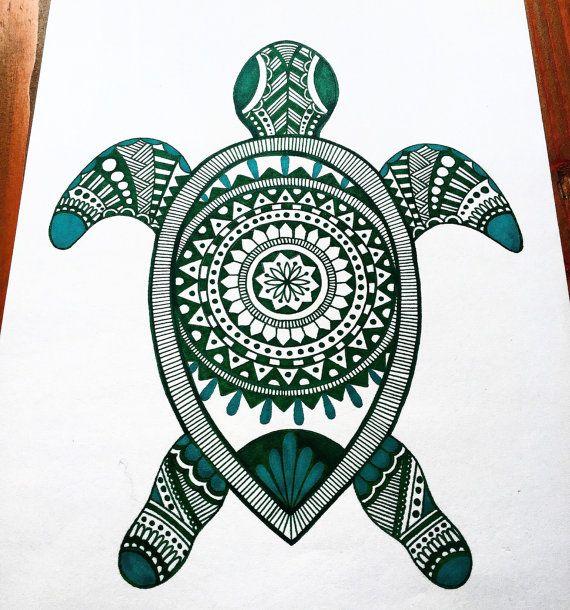 Zentangle Turtle Mandala by BohoVida on Etsy