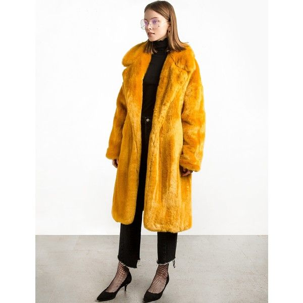 Mustard Long Faux Fur Coat ($375) ❤ liked on Polyvore featuring outerwear, coats, faux coat, long white coat, fake fur coats, mustard coat and faux-fur collar coat