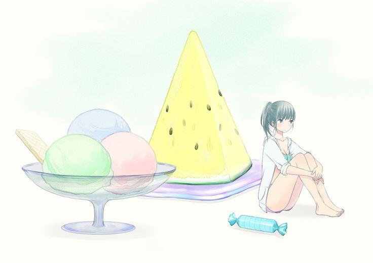 三色のシャーベット、黄色いすいか、安いラムネ菓子 | Re: