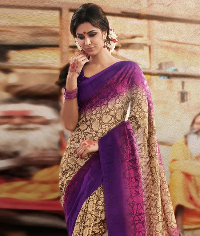 The stunning Indian attire is a perfectly draped saree that embraces the real beauty of a woman. This collection focuses on delivering some latest and refreshing styles and designs to you with a touch of contemporary combined with tradition. Its time to restyle your ethnic wear! BRAND: Strollay CoutureCATEGORY: Saree with Unstitched BlouseARTICLECOLOURMATERIALLENGTHSareeBeige and Dark MagentaArt Bhagalpuri Silk5.50 metersBlousePurpleArt Bhagalpuri Silk0.80 meterWe would always want to send…