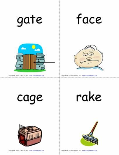 Phonics FlashCards cover short and long (magic E and digraph formations) vowels