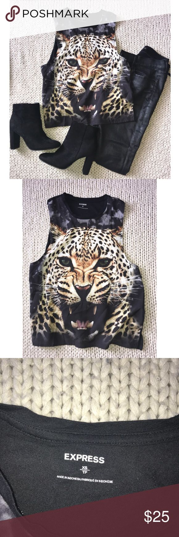 EXPRESS Tiger Muscle Tank Top Love this EXPRESS tiger muscle tank top!!!! Size XS. Worn once!!!! Super comfortable and lift material. Express Tops Tank Tops
