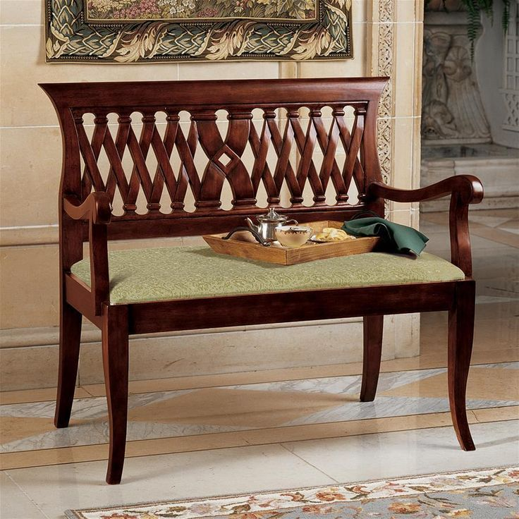 "Named for the English architect revered for his clean lines, this quality solid mahogany Georgian bench requires four days to hand-carve its filigree-cut back and over-yard long seat. Boasting comfortable construction supporting striped jacquard, tone-on-tone upholstery, this versatile work of furniture art is a true chameleon that blends with most any #HomeDecor and lends classic style anywhere.40""Wx22½""Dx38""H. 35 lbs."