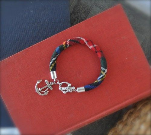 Tartan Plaid Bracelet with Anchor Charm