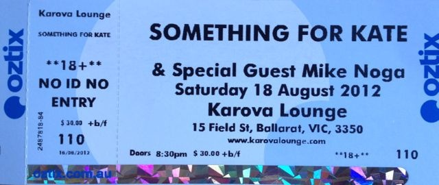 Something for Kate, Ballarat, 2012.  First show in 4 years!