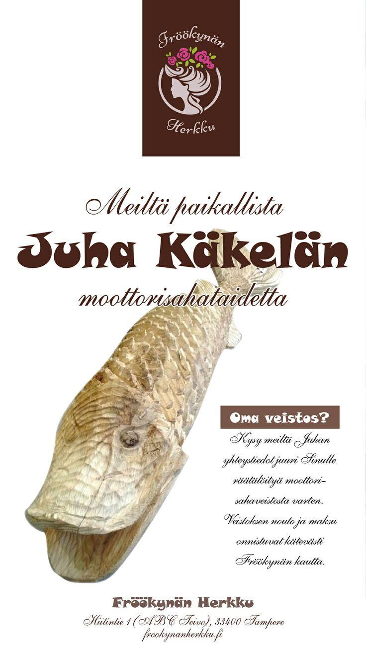 Juha Käkelä Ylöjärven Takamaalta työstää puuta mihin muotoon tahansa. Työkaluna hänellä on pelkkä moottorisaha ja materiaalina yksi puu.